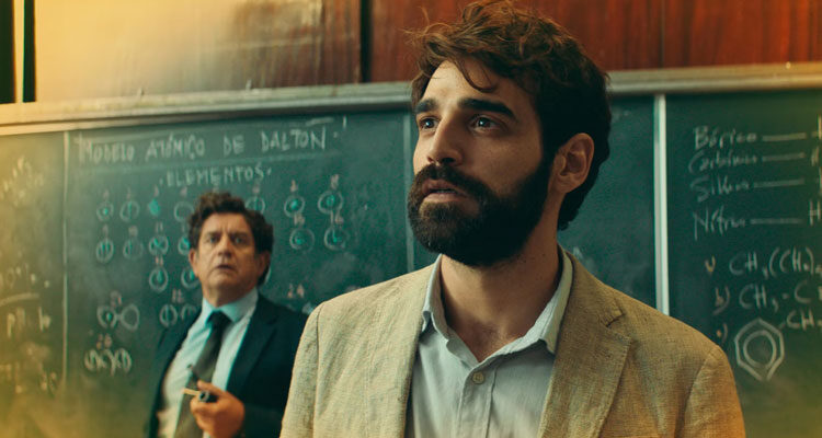 I Can Quit Whenever I Want AKA Lo Dejo Cuando Quiera 2019 Movie Scene David Verdaguer as Pedro in the classroom high on drugs