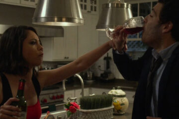 Night Owls 2015 Movie Adam Pally as Kevin and Rosa Salazar as Madeline drinking wine