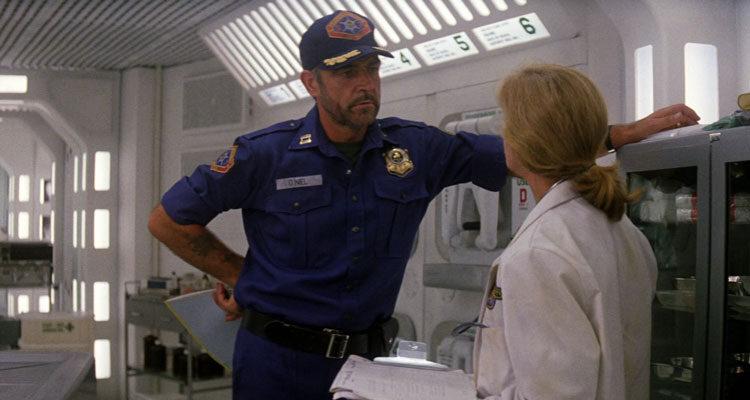 Outland 1981 Movie Scene Sean Connery talking to Frances Sternhagen