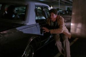Run 1991 Movie Scene Patrick Dempsey as Charlie Farrow hiding in the parking lot