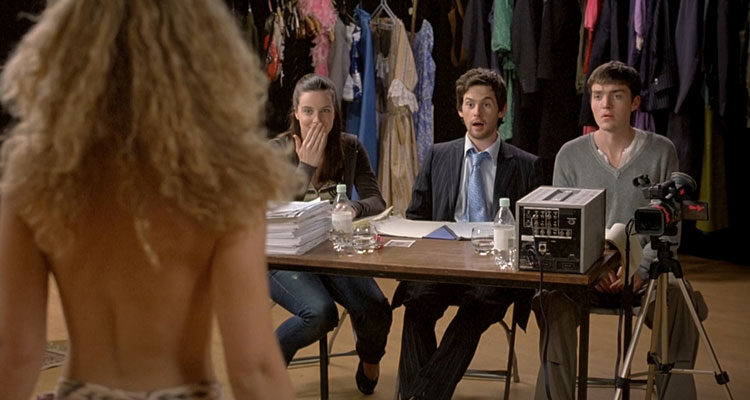 I Want Candy 2007 Movie Scene Tom Riley, Tom Burke and Michelle Ryan at the audition looking at the tits of a potential actress