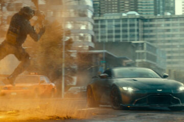 Infinite 2021 Movie Scene Aston Martin Vantage avoiding explosions in the road