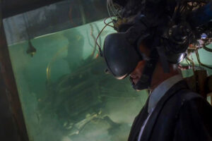 Johnny Mnemonic 1995 Movie Scene Keanu Reeves as Johnny Mnemonic in a virtual reality machine