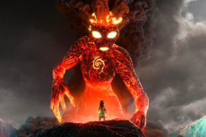 Moana 2016 Movie Scene Auli'i Cravalho as Moana confronts the lava monster with sign on its chest