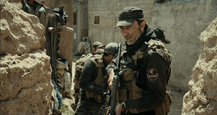 Mosul 2019 Movie Scene Suhail Dabbach as Jasem about to attack a small Isis base