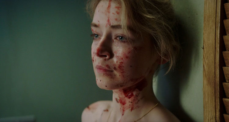 A Good Woman Is Hard To Find 2019 Movie Scene Sarah Bolger as Sarah covered in blood leaning against the wall