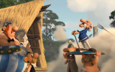 Asterix The Mansions of the Gods 2014 Movie Scene Asterix and Obelix breaking up a village fight