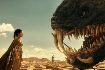 Gods of Egypt 2016 Movie Scene Elodie Yung as Hathor talking to a giant snake monster with a lot of teeth
