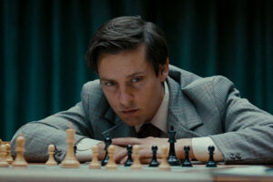 Pawn Sacrifice 2014 Movie Scene Tobey Maguire as Bobby Fischer during his game with Boris Spassky