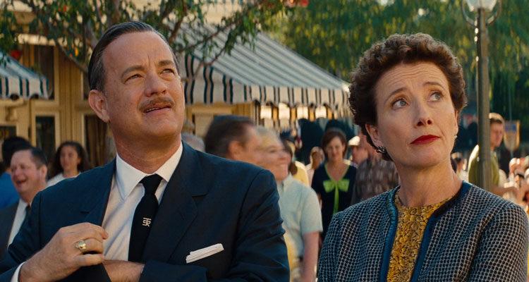 Saving Mr. Banks 2013 Movie Scene Emma Thompson as P.L. Travers and Tom Hanks as Walt Disney while visiting Disneyland