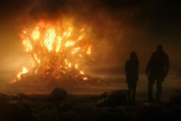 The Last Witch Hunter 2015 Movie Scene Kaulder and Khloe watching as the ancient tree burns