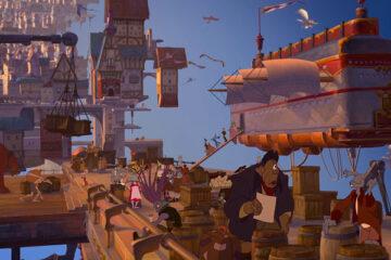 Treasure Planet 2002 Movie Scene A bustling space city