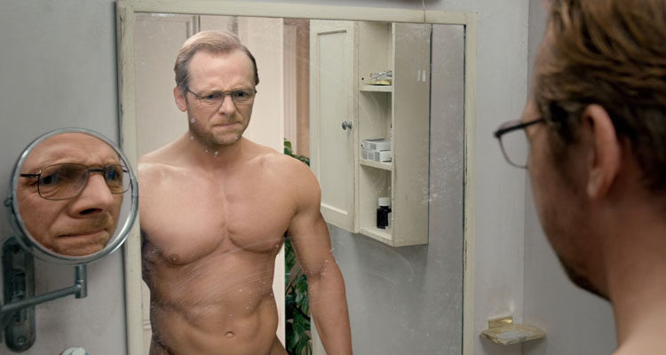 Absolutely Anything 2015 Movie Scene Simon Pegg as Neil looking in the mirror at his muscular body after he made a wish to look good