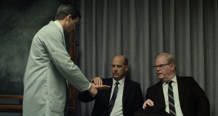 Experimenter 2015 Movie Scene Jim Gaffigan as James McDonough and Anthony Edwards as Miller participating in the experiment