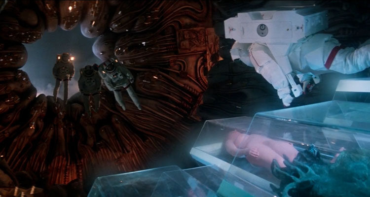 Lifeforce 1985 Movie Scene Astronauts aboard the alien vampire vessel finding three naked vampires in hibernations apparently sleeping