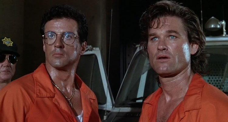 Tango and Cash 1989 Movie Scene Sylvester Stallone as Tango and Kurt Russell as Cash in prison uniforms