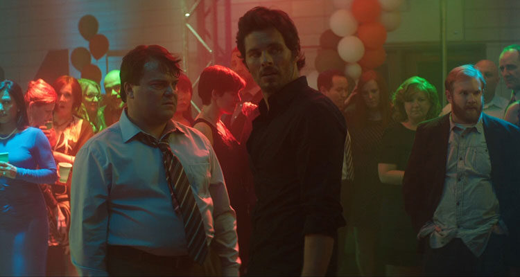 The D Train 2015 Movie Scene Jack Black as Dan Landsman and James Marsden as Oliver Lawless at their high school reunion party